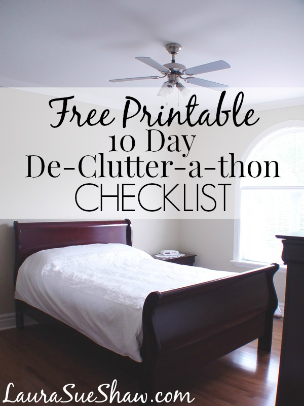 Free Printable 10 Day De-Clutter-a-thon Checklist