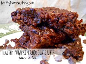 Healthy Pumpkin Chocolate Chip Brownies