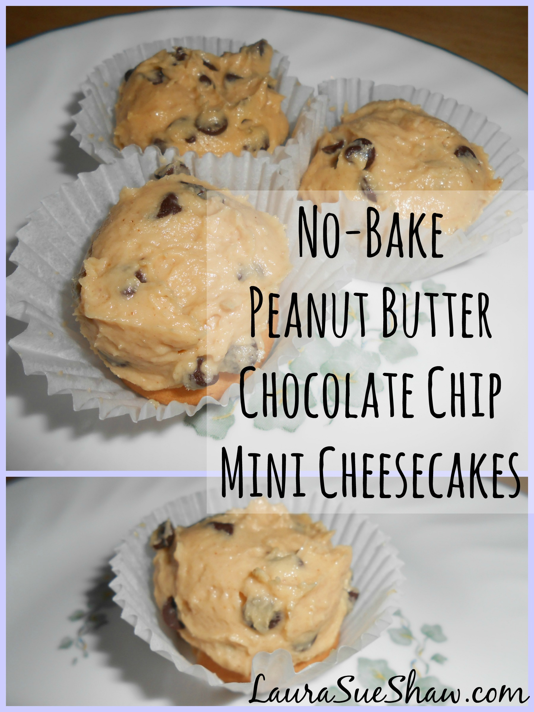 No-Bake Peanut Butter Chocolate Chip Mini Cheesecakes