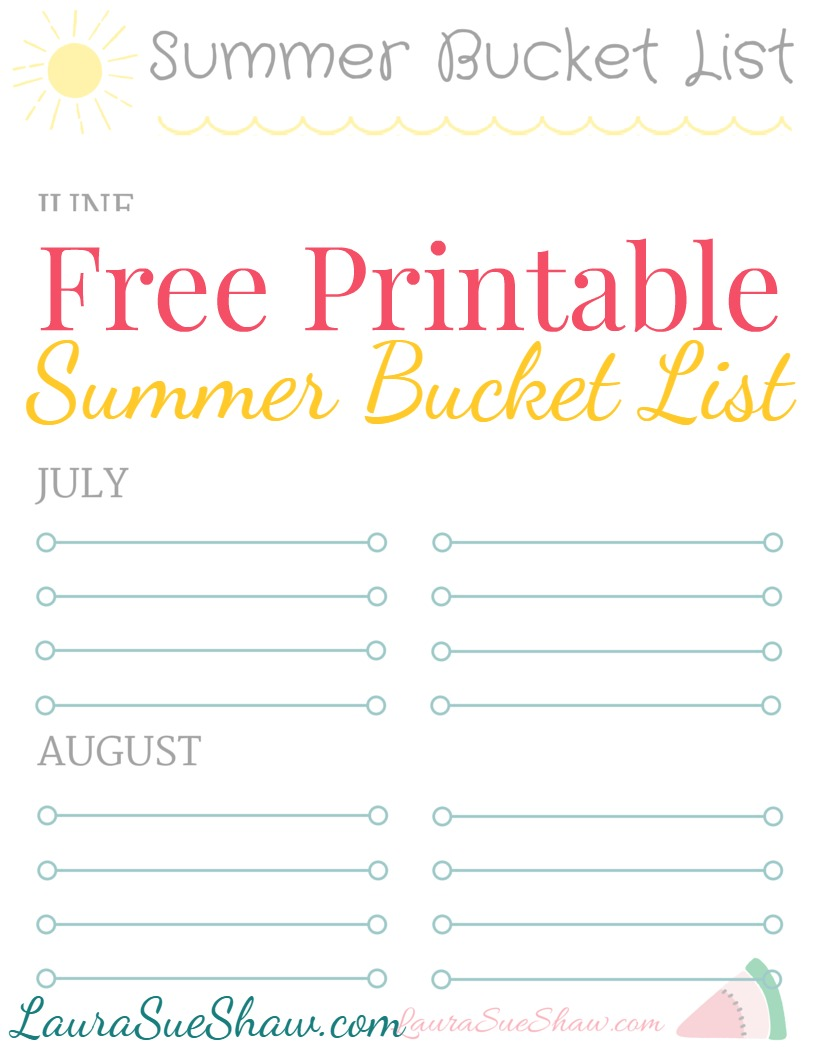 graphic relating to Summer Bucket List Printable titled Totally free Printable Summer season Bucket Record