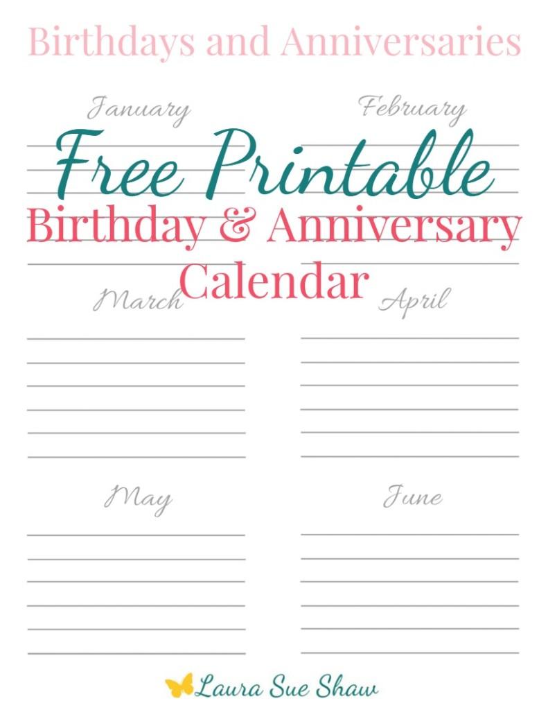 free printable birthday anniversary calendar laura sue shaw