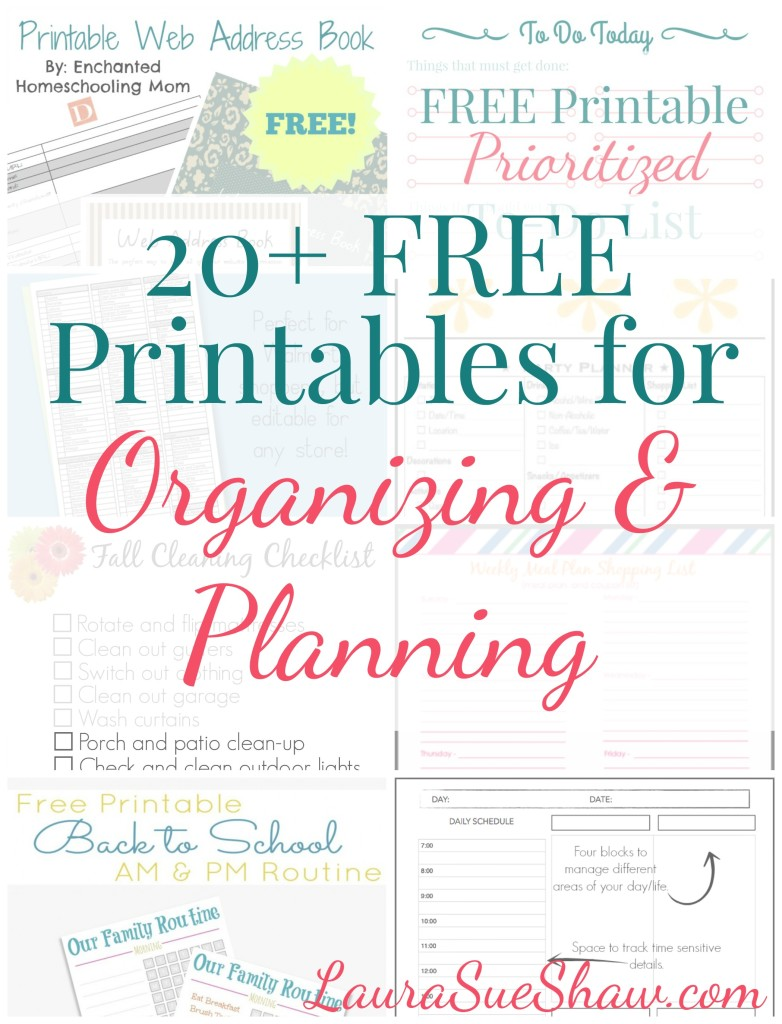 20 Free Printables For Organizing Planning