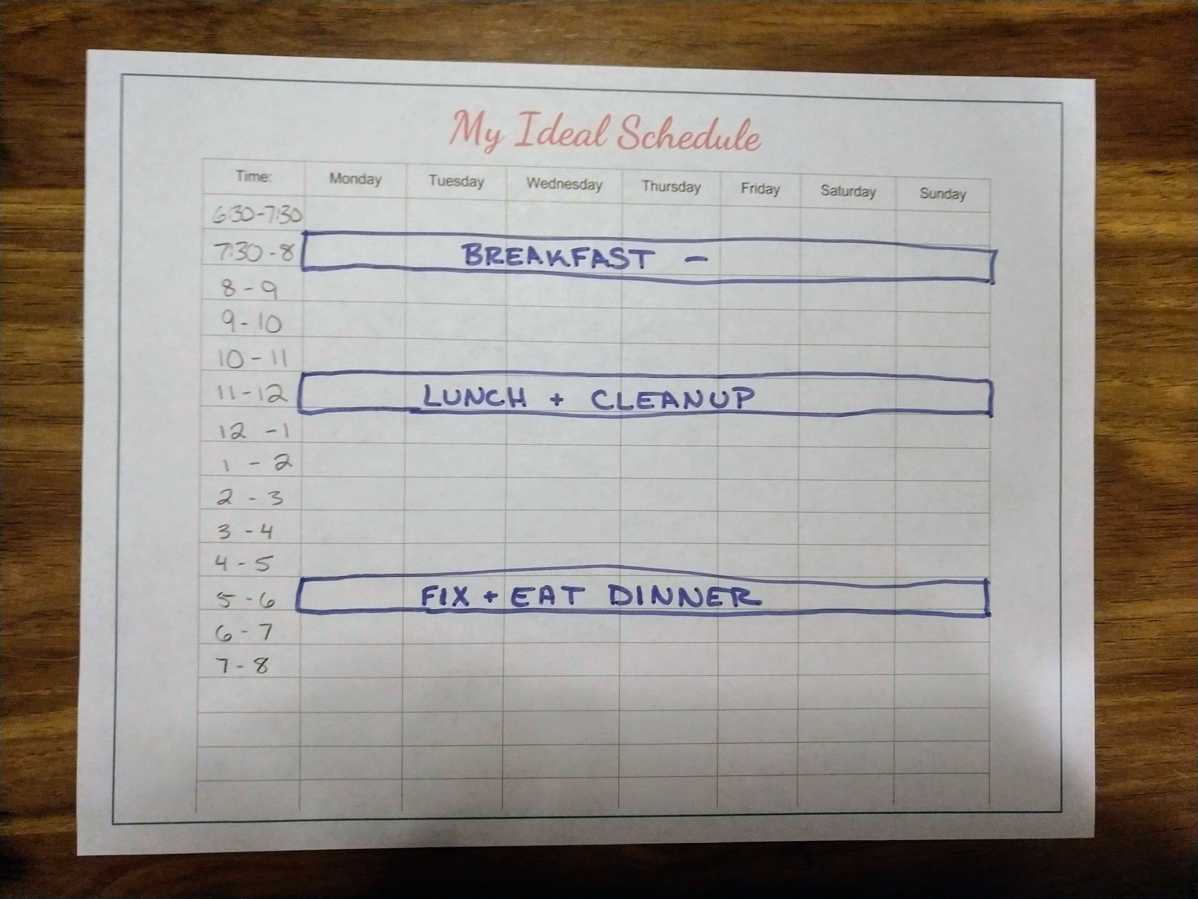 Weekly Schedule Step 1 - Meal Times