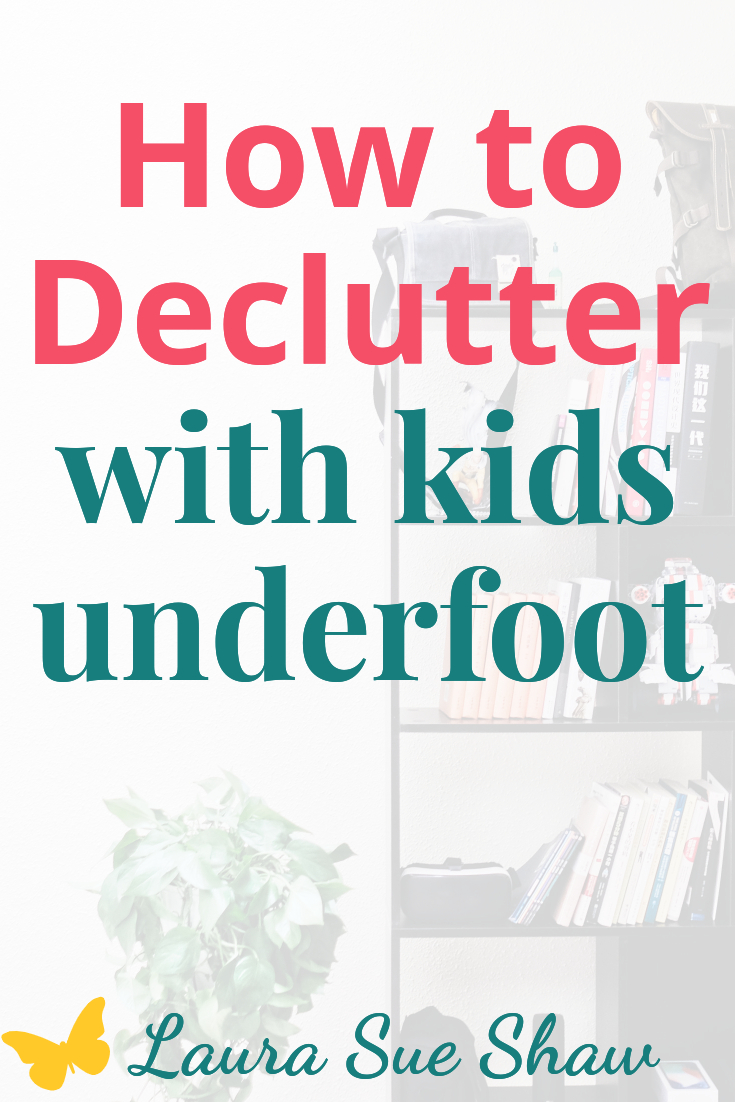 Need ides on how to declutter with kids underfoot? Check out my strategy that I've used to clear the clutter with a busy toddler by my side.